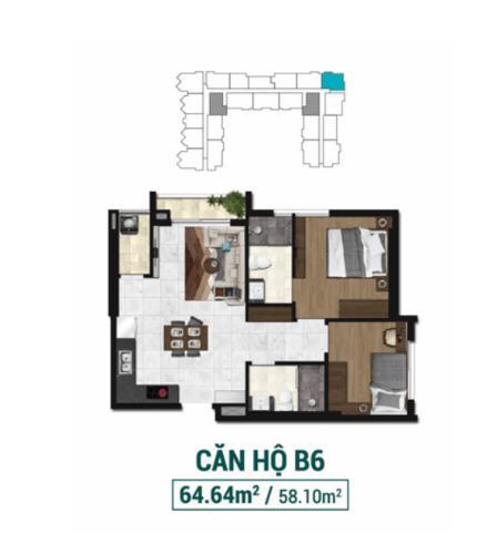 Layout căn hộ Asiana Capella, Quận 6 Căn hộ Asiana Capella hướng cửa chính Tây Bắc, nội thất cơ bản.