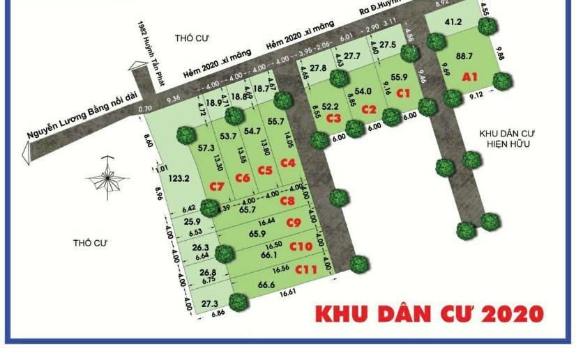 Bán đất Nhà Bè Bán đất diện tích 54.7m2 hẻm Huỳnh Tấn Phát, KP7, Thị trấn Nhà Bè, huyện Nhà Bè, đã có sổ
