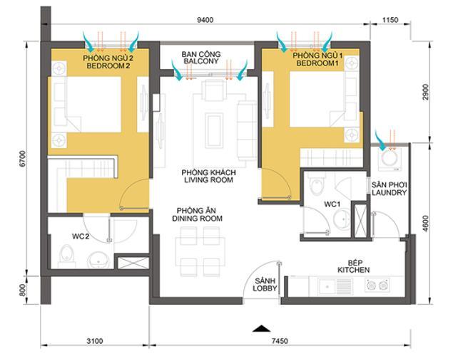 Mặt bằng căn hộ 2 phòng ngủ Căn hộ Masteri Thảo Điền trung tầng T2 thiết kế đẹp, đầy đủ tiện nghi