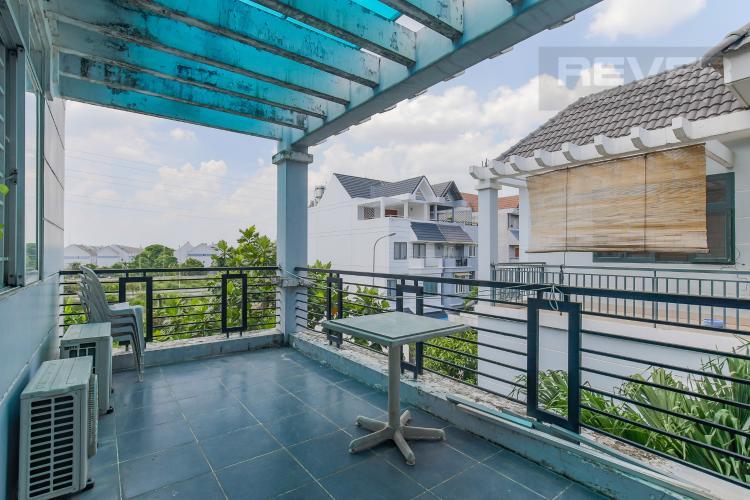 Sân Thượng Cho thuê nhà phố KDC Khang An - Phú Hữu Q.9, 3 tầng, 5 phòng ngủ, đầy đủ nội thất, diện tích 168m2