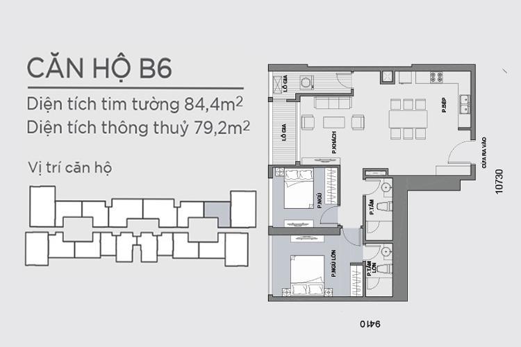 Mặt bằng căn hộ 2 phòng ngủ Căn hộ Vinhomes Central Park tầng cao Park 6 nội thất đầy đủ