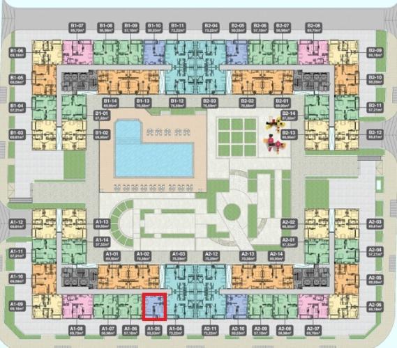 Bản vẽ dự án Q7 Boulevard Bán căn hộ Q7 Boulevard tầng trung, 1 phòng ngủ, diện tích 50,5m2, thiết kế hiện đại, chưa bàn giao.