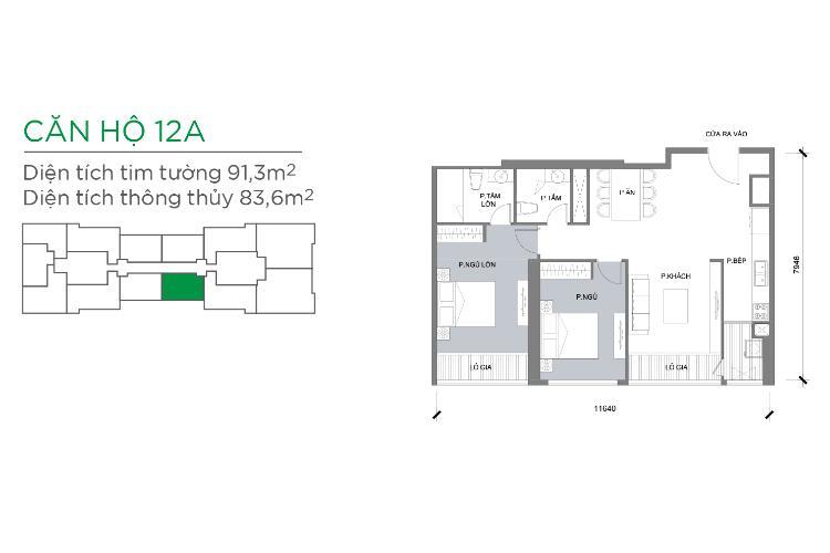 Căn hộ 2 phòng ngủ Căn hộ Vinhomes Central Park 2 phòng ngủ tầng thấp P3 view hồ bơi