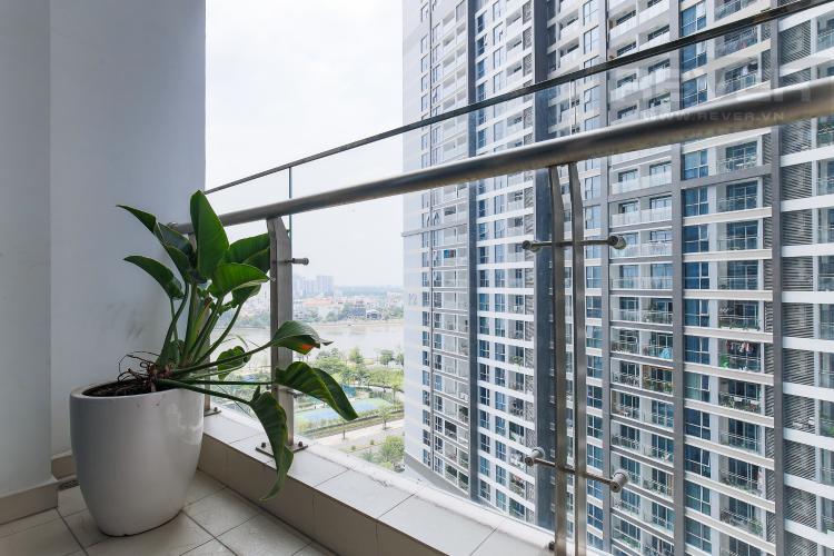 Balcony Phòng Master Bán căn hộ Vinhomes Central Park tầng trung tháp Park 3, 2PN 2WC, đầy đủ nội thất cao cấp