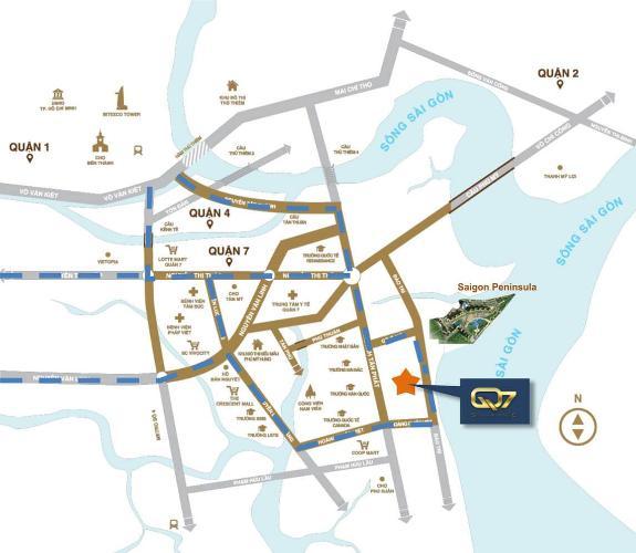 Vị trí dự án Q7 Saigon Riverside Bán căn hộ view cầu Phú Mỹ - Q7 Saigon Riverside tầng thấp, 1 phòng ngủ, diện tích 69.1m2, nội thất cơ bản.