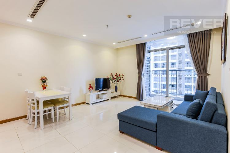 Phòng Khách Căn hộ Vinhomes Central Park tầng thấp, 1 phòng ngủ, view sông, full nội thất