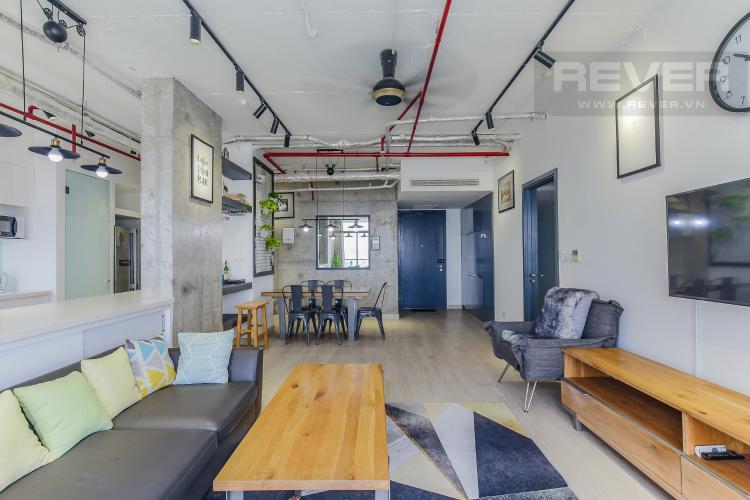 Phòng Khách Bán căn hộ City Garden 2 phòng ngủ diện tích lớn, đầy đủ nội thất, view Landmark 81