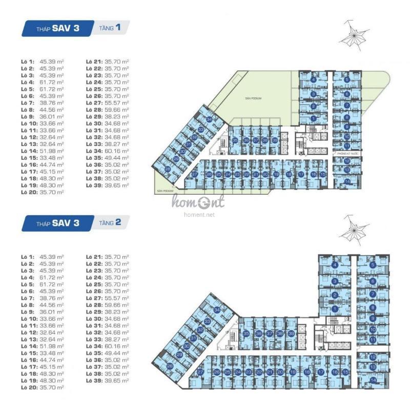 mat-bang-officetel-the-sun-avenue-SAV-3-TANG-123 Cho thuê căn hộ officetel The Sun Avenue, block 3, diện tích 31m2