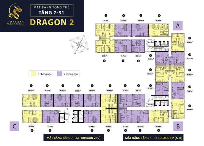 layout tháp Dragon 2 dự án Topaz Elite quận 8 Căn hộ Topaz Elite tầng cao, cửa chính hướng Tây Bắc.