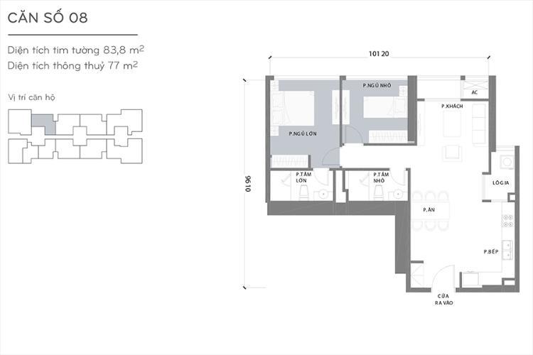 Mặt bằng căn hộ 2 phòng ngủ Căn hộ Vinhomes Central Park 2 phòng ngủ tầng thấp L1 hướng Bắc