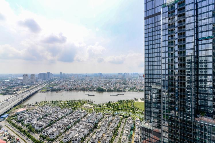 View Ban Công Căn hộ Vinhomes Central Park 4 phòng ngủ tầng cao L6 view sông