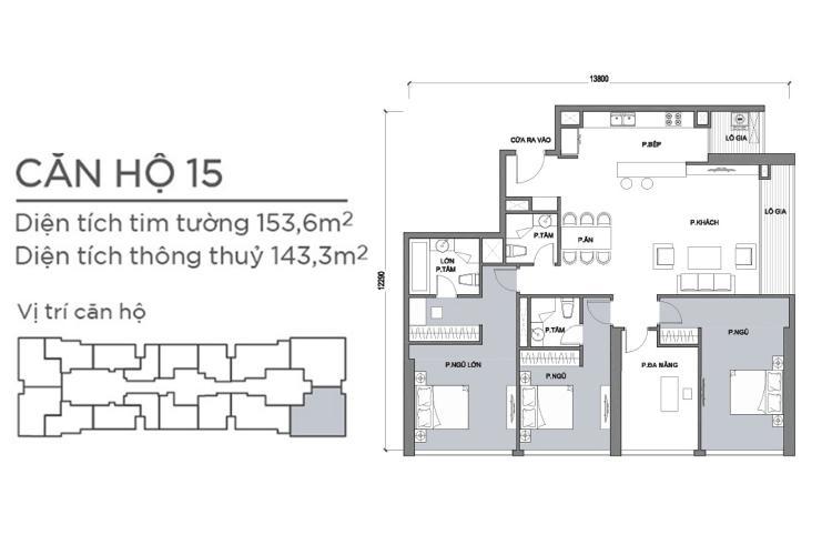 Mặt bằng căn hộ 4 phòng ngủ Căn góc Vinhomes Central Park 4 phòng ngủ, nội thất cơ bản, view sông