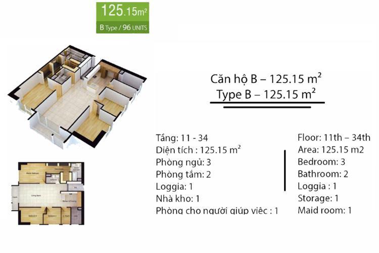 Mặt bằng căn hộ 3 phòng ngủ Căn hộ Cantavil Premier tầng cao D2 nội thất đầy đủ