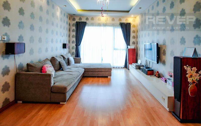 Phòng Khách Căn hộ Chung cư Phú Mỹ tầng cao, 3PN, nội thất đầy đủ, view hồ bơi