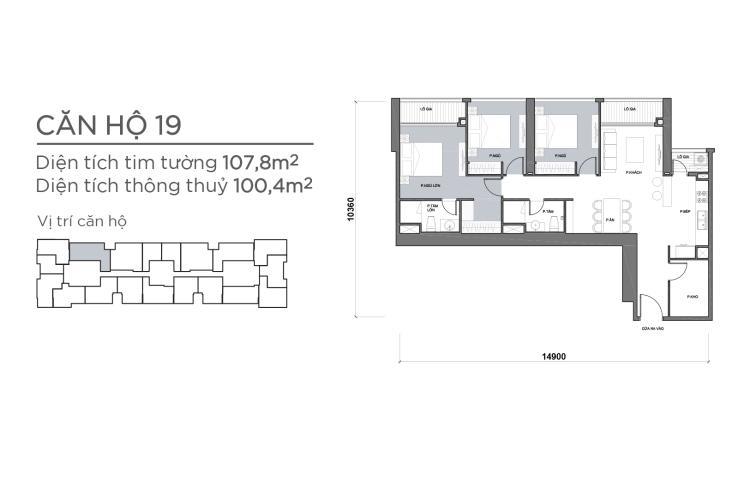 Căn hộ 3 phòng ngủ Căn hộ Vinhomes Central Park 3 phòng ngủ tầng cao P7 view sông