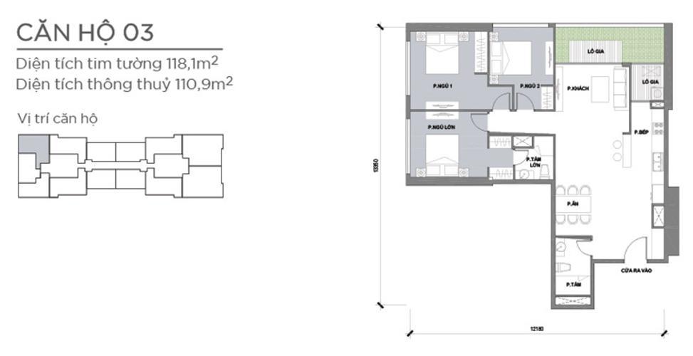 Mặt bằng căn hộ 3 phòng ngủ Căn góc Vinhomes Central Park tầng trung Park 2 đầy đủ nội thất