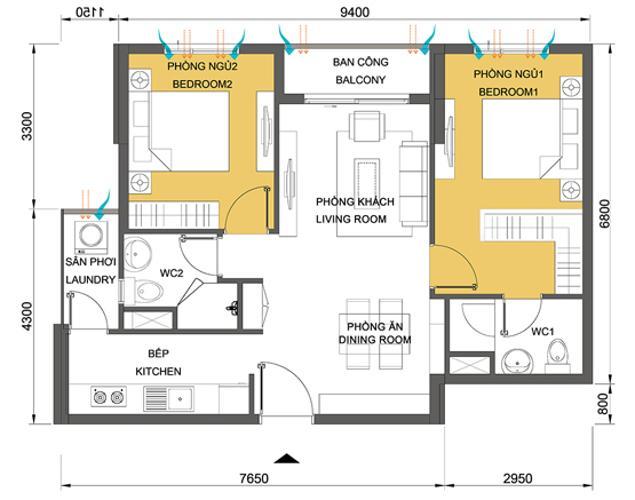 Căn hộ 2 phòng ngủ Căn hộ Masteri Thảo Điền tầng cao hướng Tây Bắc tháp T3