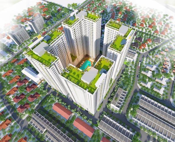 Tổng quan dự án Bcons Garden Căn hộ tầng cao Bcons Garden ban công hướng Đông.