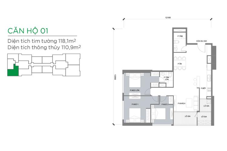 Căn hộ 3 phòng ngủ Căn góc Vinhomes Central Park 3 phòng ngủ tầng trung Park 3