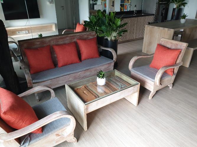 Phòng khách , Căn hộ Palm Heights , Quận 2 Căn hộ Palm Heights tầng 9 nội thất gỗ hiện đại đầy đủ, thiết kế sang trọng.