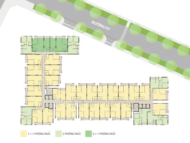 Layout Ricca Quận 9 Căn hộ Ricca tầng thấp 1 phòng ngủ, nội thất cơ bản.