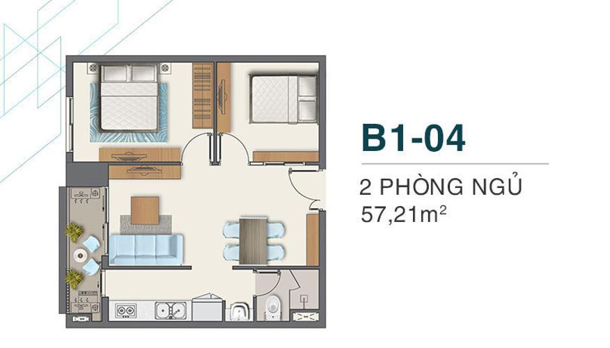 layout căn hộ Q7 Boulevard Căn hộ nội thất cơ bản tầng 22 Q7 Boulevard