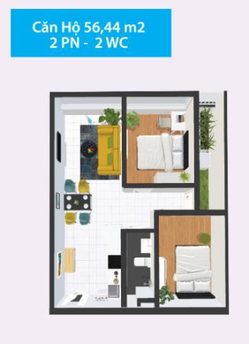 Mặt bằng căn hộ Căn hộ Topaz Home 2 tầng thấp, nội thất cơ bản chủ đầu tư.