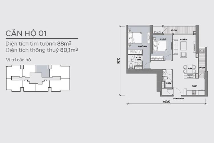 Mặt bằng căn hộ 2 phòng ngủ Căn hộ Vinhomes Central Park 2 phòng ngủ, tầng trung P5, view nội khu