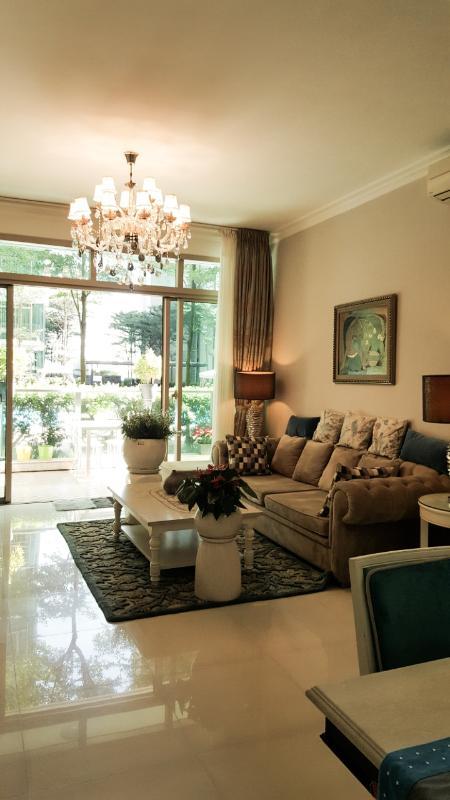 Phòng khách Bán căn hộ sân vườn The Vista An Phú 3PN, tháp T4, diện tích 179m2, đầy đủ nội thất, hướng Tây Bắc