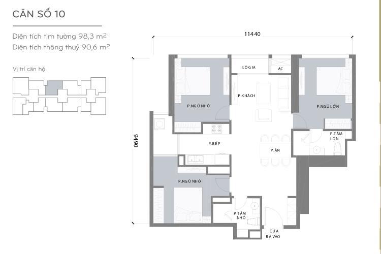 Mặt bằng căn hộ 3 phòng ngủ Căn hộ Vinhomes Central Park 3 phòng ngủ, tầng trung L3, nội thất đầy đủ