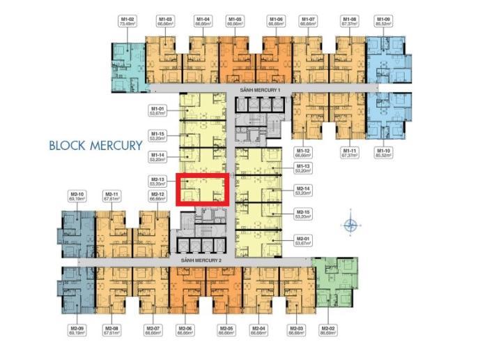 M2.13 Lo1 Bán căn hộ Q7 Saigon Riverside, diện tích 53.2m2, chưa bàn giao