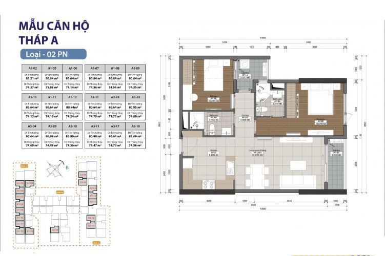 Căn hộ 2 phòng ngủ Căn hộ The Gold View 2 phòng ngủ tầng thấp A3 view sông