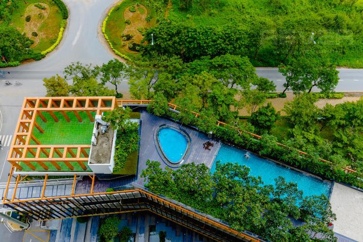 View Hồ Bơi Căn hộ Dragon Hill Residence and Suites tầng cao, tháp B, 2 phòng ngủ, full nội thất