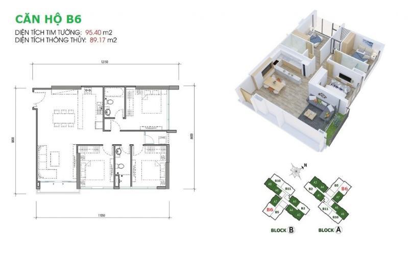 Layout Eco Green Saigon Căn hộ Eco Green Sài Gòn tầng thấp nội thất cơ bản, view Bitexco.