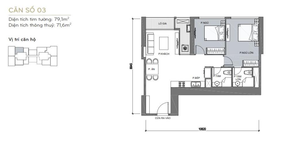 Mặt bằng căn hộ 2 phòng ngủ Căn hộ Vinhomes Central Park 2 phòng ngủ tầng trung L6 hướng Đông Bắc