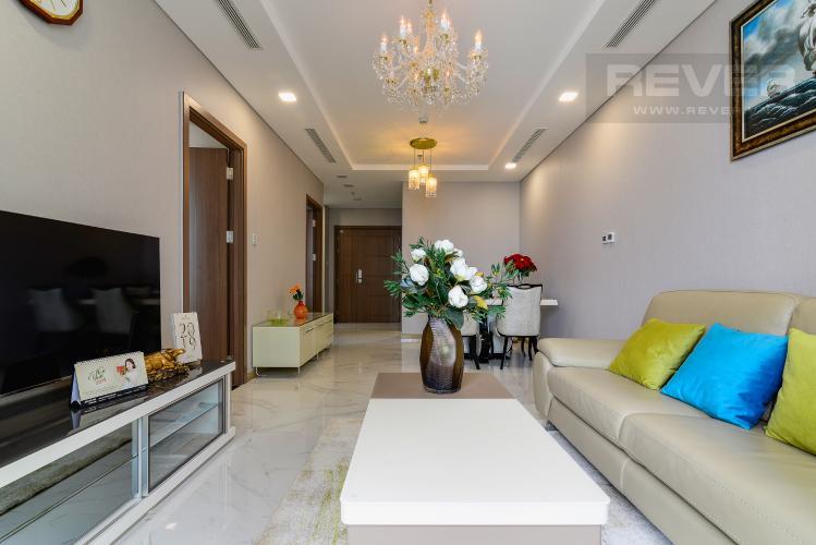 Phòng Khách Cho thuê căn hộ Vinhomes Central Park tầng cao, 2PN đầy đủ nội thất tiện nghi, sang trọng