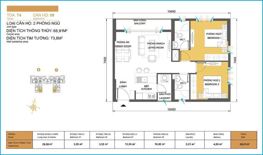 Mặt bằng căn hộ 2 phòng ngủ Căn hộ Masteri Thảo Điền 2 phòng ngủ tầng cao T4 view hồ bơi