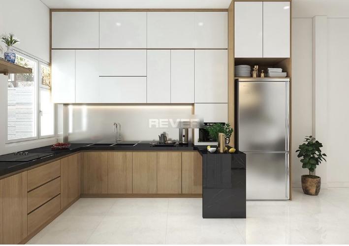 Phòng bếp nhà phố Bình Trưng Tây, Quận 2 Nhà phố rộng 110m2, thiết kế hiện đại đầy đủ nội thất.