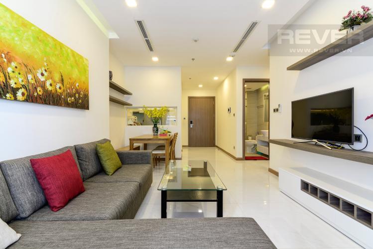 Phòng Khách Cho thuê căn hộ Vinhomes Central Park tầng trung tháp Park 5, 2PN 2WC, đầy đủ nội thất