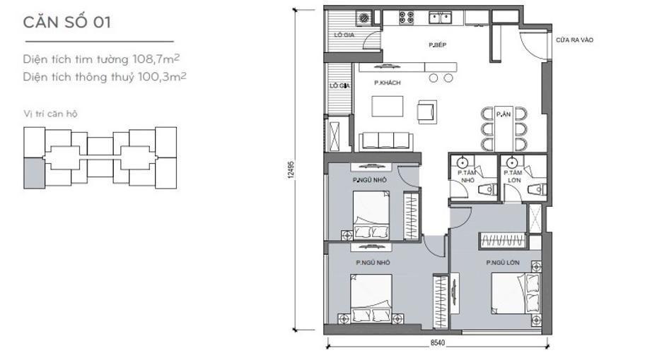 Mặt bằng căn hộ 3 phòng ngủ Căn hộ Vinhomes Central Park 3 phòng ngủ tầng cao L5 nội thất cơ bản