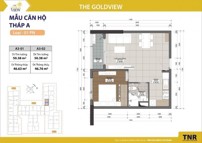 Căn hộ 1 phòng ngủ Căn hộ The Gold View 1 phòng ngủ tầng cao A3 view sông