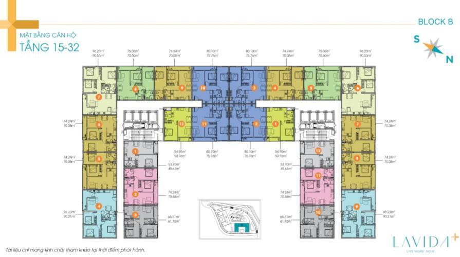 Mặt bằng căn hộ Lavida Plus Bán Căn hộ Lavida Plus,  65.51m2, 2 phòng ngủ, 2 phòng tắm, thiết kế hiện đại, sang trọng