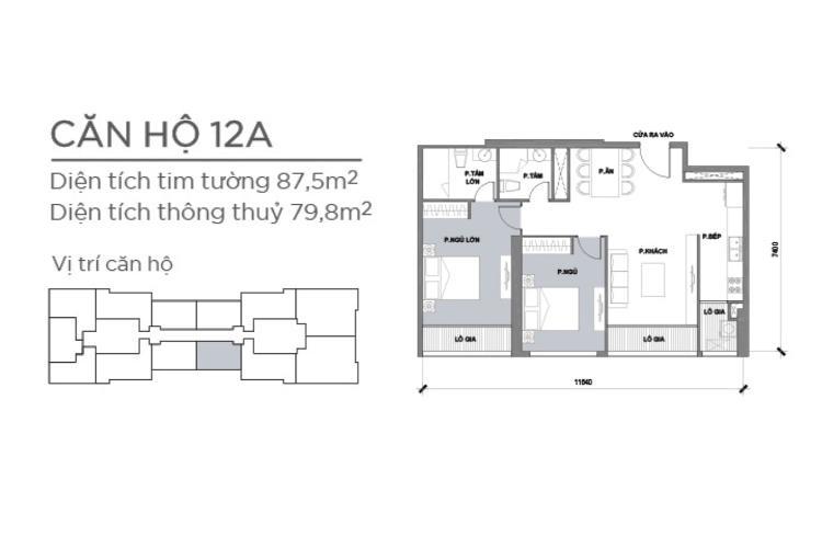 Mặt bằng căn hộ 2 phòng ngủ Căn hộ Vinhomes Central Park 2 phòng ngủ, tầng trung P2, nội thất đầy đủ