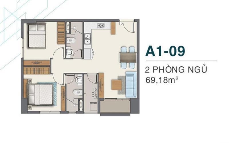 Layout Q7 Boulevard Căn hộ Q7 Boulevard 2 phòng ngủ, bàn giao nội thất cơ bản.