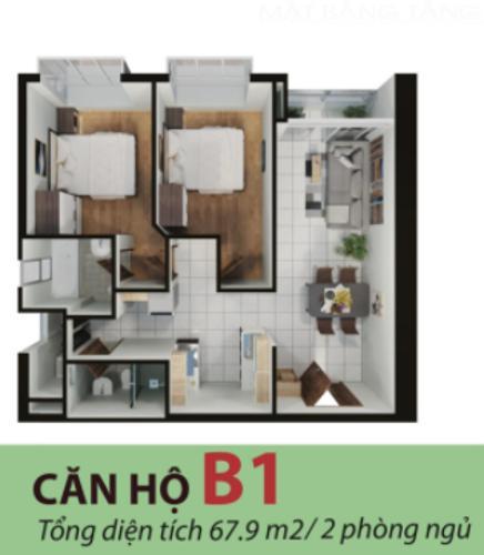 Căn hộ chung cư Terra Mia ban công Đông Nam, thiết kế hiện đại.