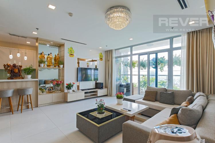 Phòng Khách Bán căn hộ Vinhomes Central Park tầng trung tháp Park 1, 4PN 3WC, đầy đủ nội thất, view sông Sài Gòn
