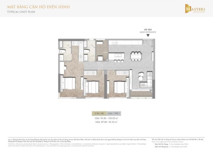 layout căn 3pn dự án Masteri Centre point quận 9 Căn hộ Masteri Centre Point tầng cao, hướng Đông Bắc.