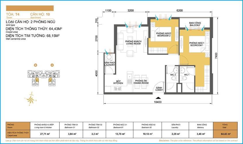 Mặt bằng căn hộ 2 phòng ngủ Căn hộ Masteri Thảo Điền 2 phòng ngủ tầng cao T4 view nội khu