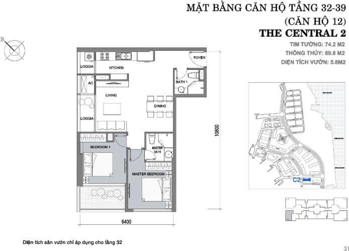 Căn hộ 2 phòng ngủ Căn hộ Vinhomes Central Park tầng cao C2 view về trung tâm thành phố