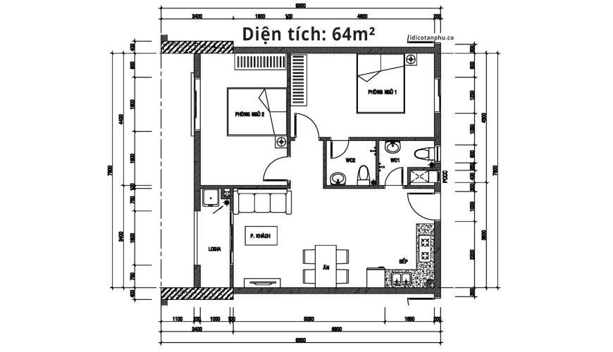 Mặt bằng căn hộ 2 phòng ngủ Căn hộ IDICO Tân Phú 2 phòng ngủ, tầng cao tháp C, nhà trống, mới 100%